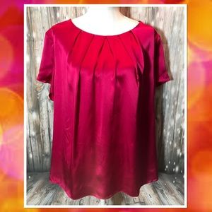 Talbots NWOT Pink Silk Pleat Neck Blouse